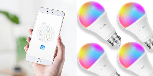 Pack de bombillas inteligentes TECKIN WiFi RGB en Amazon