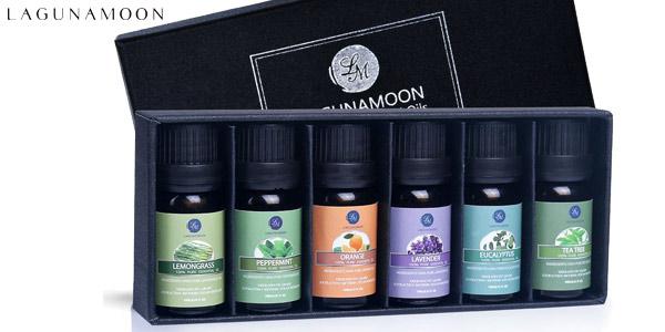 Set x6 Aceites Esenciales Lagunamoon para aromaterapia barato en Amazon