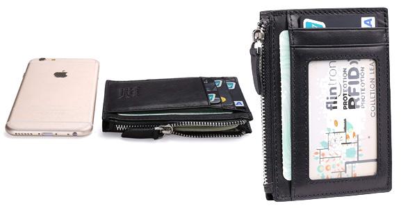 Cartera de piel con monedero Slim Flintronic para tarjetas de crédito chollo en Amazon