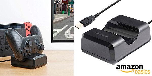 Chollo Base de carga AmazonBasics para mando de Switch Pro con cable USB