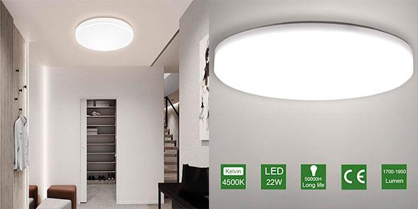 Chollo Lámpara de techo LED Oowolf de 22 W