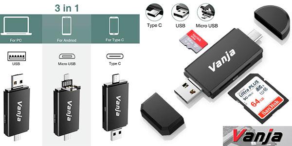 Chollo Lector USB multifunción Vanja de tarjetas de memoria SD y Micro SD