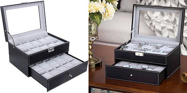 Chollo Expositor Songmics con doble cajón para 20 relojes