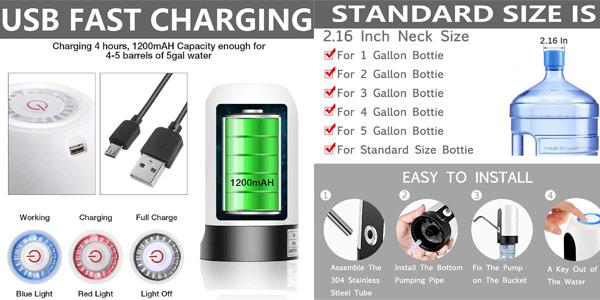 Dispensador de agua electrónico Yomym recargable por USB chollo en Amazon