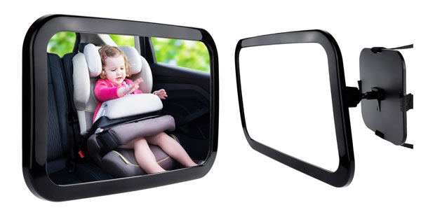 Espejo retrovisor para vigilar a tu bebé en el coche barato en Amazon