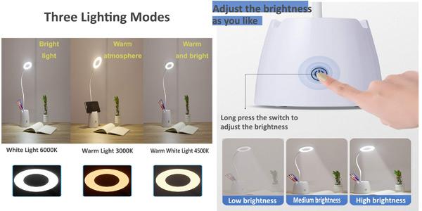Flexo LED de escritorio Suuki regulable con portalápices y soporte smartphone chollazo en Amazon
