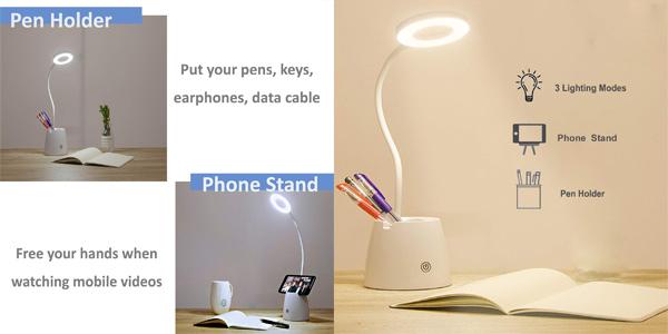 Flexo LED de escritorio Suuki regulable con portalápices y soporte smartphone barato en Amazon