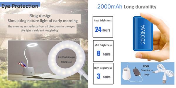Flexo LED de escritorio Suuki regulable con portalápices y soporte smartphone chollo en Amazon