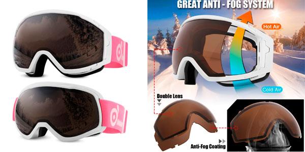 Gafas de esquí para niños y adultos Odoland baratas en Amazon