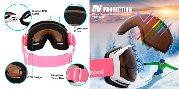 Gafas de esquí para niños y adultos Odoland en oferta en Amazon