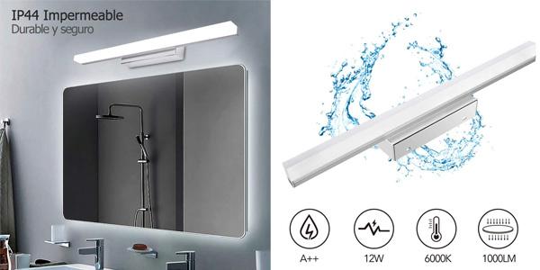 Lámpara LED de baño JSHLT de 12 W barata en Amazon