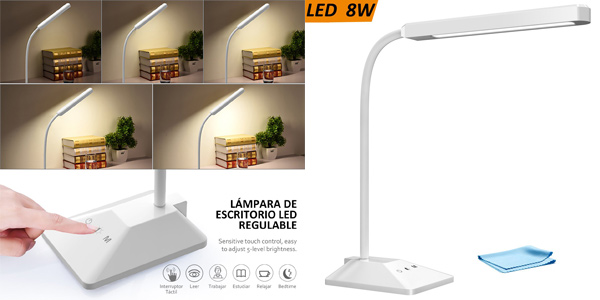 Lámpara de escritorio Topelek con 48 LEDs barata en Amazon