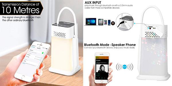Chollo Lámpara LED de escritorio AGM con altavoz Bluetooth, reproductor MP3 y manos libres