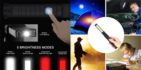 linterna LED de trabajo Eecoo con cargador USB chollo