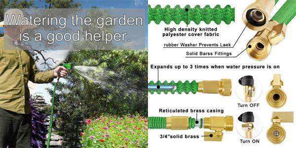 Manguera de Jardín extensible Wirabo de 15m chollazo en Amazon