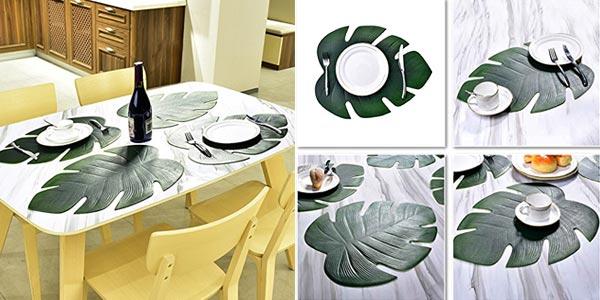 Pack 6 manteles individuales antideslizantes con forma de hoja tropical chollo en Amazon