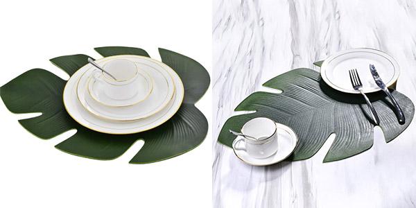 Pack 6 manteles individuales antideslizantes con forma de hoja tropical barato en Amazon