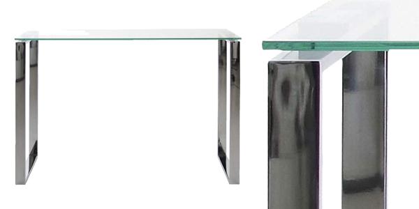 Mesa consola Amazo Movian Somes de cristal con base cromada barata en Amazon