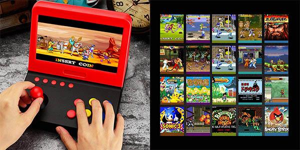 """Mini recreativa arcade de 7"""" con 2 gamepads y 3000 juegos clásicos en Amazon"""