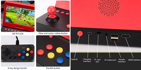 """Mini recreativa arcade de 7"""" con 2 gamepads y 3000 juegos clásicos barata"""