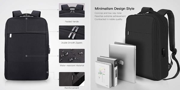 Mochila impermeable para portátil REYLEO con puerto USB chollo en Amazon
