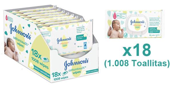 Pack x18 Paquetes de 56 Toallitas Johnson's Baby CottonTouch con Algodón Auténtico (1.008 uds.) barato en Amazon