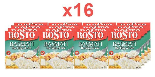 Pack Bosto Arroz Basmati x16 paquetes de 4 bolsas de 125G (total 8kg) barato en Amazon