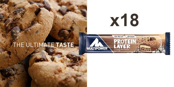 Pack x18 barritas energéticas Multipower Protein Layer sabor Cookies & Cream barato en Amazon