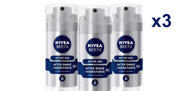 Pack x3 Bálsamo Anti-Edad 2en1 Nivea Men Active Age de 75 ml/ud barato en Amazon
