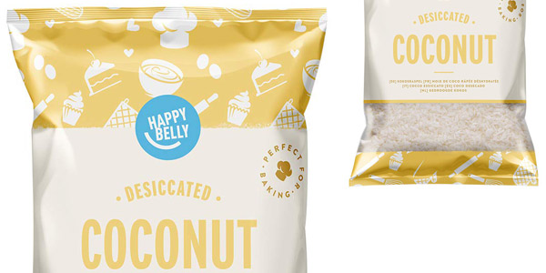 Pack x5 Bolsas Amazon Happy Belly Coco desecado de 200 gr/ud chollo en Amazon