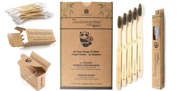 Pack x5 Cepillos de dientes Bamboogaloo de bambú con carbón orgánico barato en Amazon
