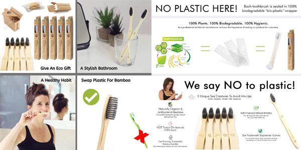 Pack x5 Cepillos de dientes Bamboogaloo de bambú con carbón orgánico chollo en Amazon