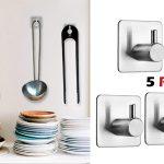 Pack x5 Ganchos en acero inoxidable Auxmir con adhesivo 3M barato en Amazon