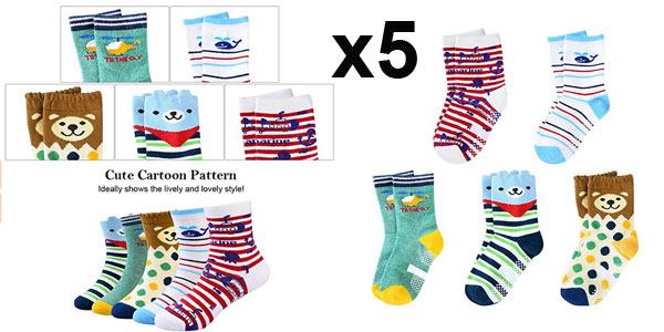 Pack x5 pares de calcetines antideslizantes VBiger para niños barato en Amazon