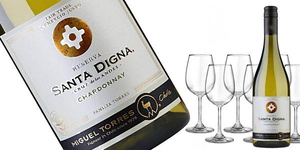 Pack x6 botellas Vino blanco Santa Digna Chardonnay de 750 ml chollo en Amazon
