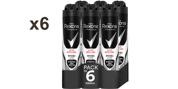 Pack x6 Desodorante Rexona Active Pro+ Invisible para hombre barato en Amazon