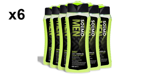 Pack x6 Gel de ducha diario 3 en 1 Amazon-Solimo para hombre de 400 ml/ud para hombre barato en Amazon