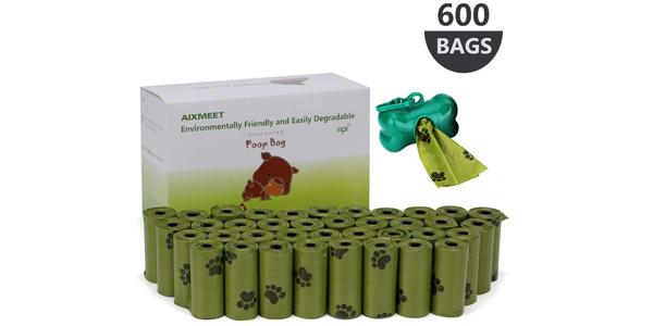 Pack x600 Bolsas biodegradables para excrementosde perros con dispensador barato en Amazon