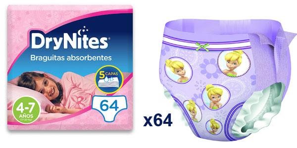 Pack DryNites x64 Braguitas absorbentes para niña 4-7 años (17-30 kg) barato en Amazon
