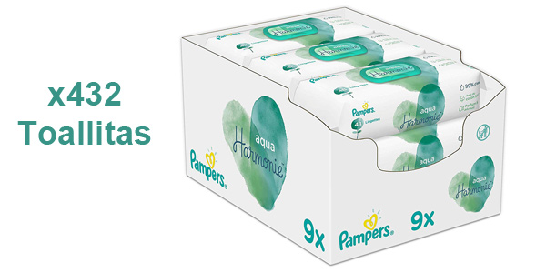 Pack x9 paquetes Toallitas Pampers Aqua Harmonie para bebé barato en Amazon