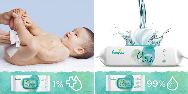 Pack x9 paquetes Toallitas Pampers Aqua Harmonie para bebé chollo en Amazon