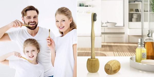 Pack 6 Cepillos de dientes +2 Portacepillos de Bambú barato en Amazon