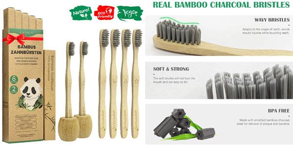 Pack 6 Cepillos de dientes +2 Portacepillos de Bambú chollo en Amazon