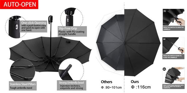 Paraguas automático Morning Stand a prueba de viento chollo en Amazon