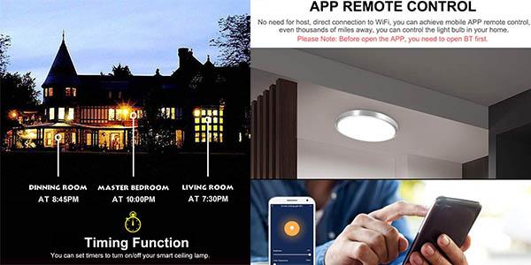 plafón LED Owsoo con control móvil y cupón descuento en Amazon