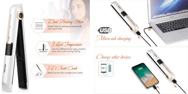 Plancha de pelo inalámbrica Himaly con pantalla digital y carga por USB chollo en Amazon
