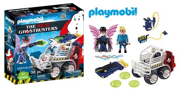 Playmobil The Real Ghostbusters Spengler (9386) con Coche Jaula y Lanzador de Discos barato en Amazon
