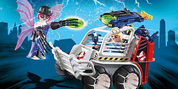 Playmobil The Real Ghostbusters Spengler (9386) con Coche Jaula y Lanzador de Discos chollo en Amazon