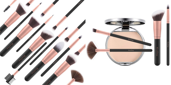 Set de 17 Piezas de Brochas y pinceles de maquillaje EmaxDesign Rose Golden chollazo en Amazon