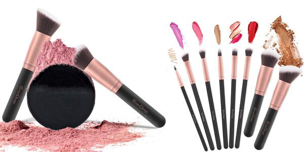 Set de 17 Piezas de Brochas y pinceles de maquillaje EmaxDesign Rose Golden chollo en Amazon